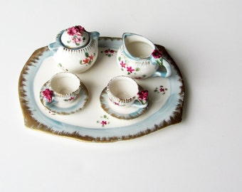 miniature tea set, china tea set with roses, seven piece tea set, blue and pink teaset