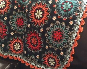 Mandala Crocheted Throw Peach Teal White Gift 33x43