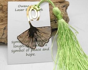 Bookmark, Laser Cut Ginko Leaf - Book Lover, Bookmark, School, Reading, Teacher Gift, Hostess Gift, Library