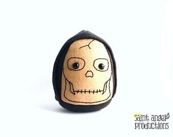 Grim Reaper Skull Plushie, Creepy Stuffed Plush Halloween Skeleton Monster, Plushoween, READY TO SHIP