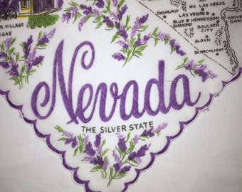 Vintage Nevada State Hanky - Handkerchief Hankie