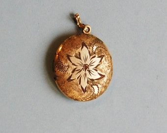 1950s Gold Filled Locket Vintage Etched Pendant Double