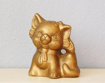 Vintage 1970s Brass Cat Piggy Bank Kitty Unusual Scratching Her Ear