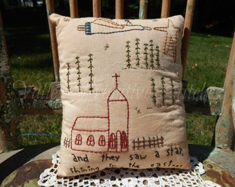 Hand Stitched, Christmas Pillow, Angel, Church, Eastern Star, Snowflakes, CIJ, Christmas In July
