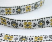 """Green Olive & Gold Cross Stitch Floral Vintage Jacquard Ribbon 1"""" Wide Sewing Trim - 3 yards - Sewing Supply, Sewing Trim, Cotton Jacquard"""