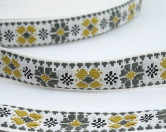 "Green Olive & Gold Cross Stitch Floral Vintage Jacquard Ribbon 1"" Wide Sewing Trim - 3 yards - Sewing Supply, Sewing Trim, Cotton Jacquard"