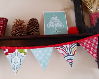 Modern Christmas Blue and Red Bunting, Holiday Bunting, winter pennant, Photo Prop