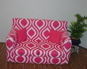 18 Inch Pink, White - Sofa - Modern Handmade Doll Furniture