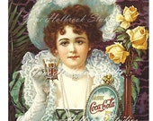 Digital Download Vintage PostCard and Billboard Images Girl Drinking Coca Cola 0006