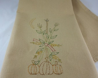 Hand Embroidered Autumn Tea Towel