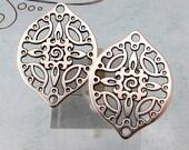 Filigree Drop, Antique Silver, 2 Pieces, AS410