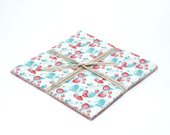 "SALE 10"" inch squares SHABBY STRAWBERRY layer cake Stacker fabric by Riley Blake from Emily Hughes"
