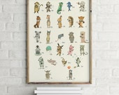 Poster-Childrens Wall Art Print -ABC Animals  Alphabet  Poster, German