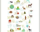 German Alphabet Wall Art, Digital Download Print, 11x14, Nursery Wall Art, Animal ABC, Nature Themed, Gender Neutral Nursery Wall Decor