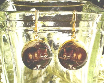 Cheshire Cat from Alice's Adventures in Wonderland Altered Art Earrings