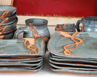Service for Six in Slate Blue with Rust Chain Dinnerware Set - Made to Order