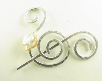 Silver Shawl Pin/Brooch Hand Formed Fancy Spiral with Genuine Champagne Fresh Water Coin Pearl