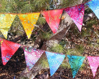 Gypsy Rainbow Batik Mini Flag Garland 72  Feet  (22m)   6 Sets
