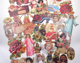 Assortment of Victorian Style Ephemera Scrap Art or Die Cuts by Old Print Factory Set of 32