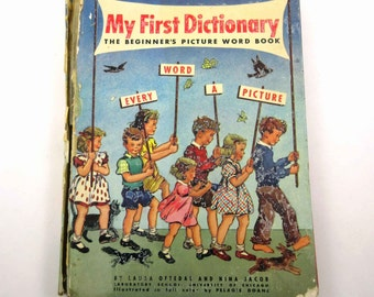 My First Dictionary Vintage 1940s Children's Picture Word Book