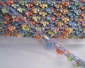 6 yards Multicolor Glitter Loop Trim  - Purple Tone with Orange Yellow Blue Green