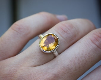 Citrine Oval Ring, Silver Birthstone Ring, Gold Citrine November Birthstone, Large Stone in Bezel Setting, Eco Friendly 925 Gift for her