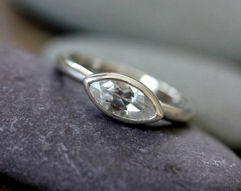 White Topaz Ring, Marquise Gemstone in Recycled Sterling Silver, Tarnish Resistant Birthstone Ring
