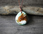 Bunny mom and baby Necklace, fused glass pendant, Rabbit jewelry, orange bunny, spring
