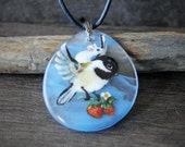 Flying Chickadee and mouse in the summer necklace - fused glass pendant