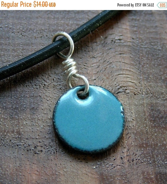 SALE Enamel jewelry Delft Blue Copper Enamel Necklace half inch disc