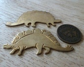 Vintage Dinosaur Stegosaurus Stamping, 1950s  Unplated Die Cast Brass Jewelry Finding Embellishment, 47.5x22mm 1pc.(C28)