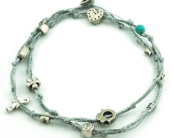 Silver Double Wrap Ties and Charms Anklet for Good Luck and Protection