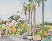 Kensington, San Diego, California Original 8 x 10 inches, signed Lydia Velarde
