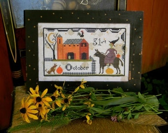 Colonial Polka Dot PAINTED Finished Wooden Frame - for Halloween Barnyard pattern - from Notforgotten Farm™