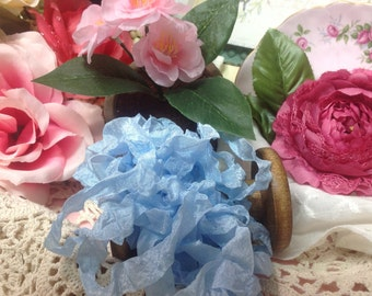Blue Seam Binding Ribbon Hand Crinkled Ribbon