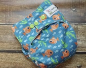 One Size Pocket Cloth Diaper Goldfish 15-40 lbs