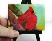 Autumn Cardinal,2.50x3.50 inches, birds, red birds, little gifts, nature lovers gifts, bird art, Office gifts