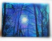 Winter sunrise, mounted aceo, original, blue trees, nature, trees, landscape, scenic, bare trees, Tiny art, #miniature art