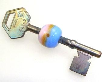 Handmade Lampwork Bead - Design Key! Beaded skeleton key, rose quartz, tranquilty, silvered ghee. Pink, Blue, Periwinkle, Pantone 2016