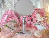 vintage moss rose standing vanity makeup mirror, swivel two sided mirror, pretty deep pink moss roses on white china stand, feminine charm