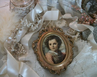 vintage framed portrait / music box western germany pull cord wall hanging, ornate gold frame, silky fabric portrait, cottage charm, works