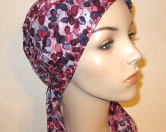 Cranberry Grape Color  Chemo Scarf, Hat, Cancer Hat, Hijab, Alopecia MADE in USA