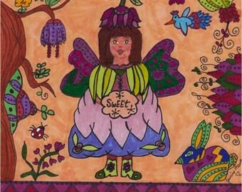 Fairy Print Folk Art Whimsical Sweet, Fairytale, Magic, Fantasy, Pixie, Enchanted, Vibrant Colorful, Flowers, Bird, Bunny Ladybug