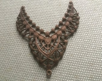 Very Special Necklace Center Piece (1)(48x40mm) Rich Dark Natural Patina