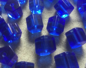 Vintage Glass Beads (12)(10mm) Sapphire Blue Czech Hexagon Translucent Beads