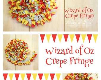 Wizard of Oz Handmade Crepe Paper Fringe, Festooning, Trim, Garland, Decoration, Party, Craft Supply, Streamer, Red, Yellow, Light Blue
