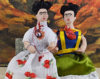 Frida Kahlo The Two Fridas 3D Miniature Mini Diorama Doll Art Collectible