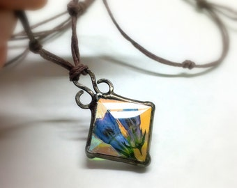 Organic Botanical Jewelry Eco Friendly Hemp Real Plant Necklace Alaskan Flower Glass Pendant Sister Best Friend Aunt Jewelry Gift