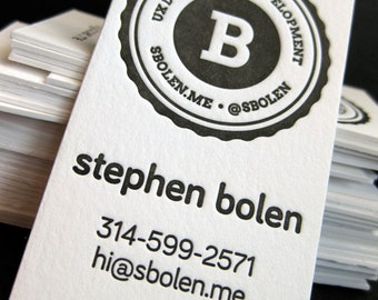 Letterpress Business Cards - 1 color