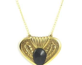 Gold and Black Necklace,Gold Necklace,Vintage Black and Gold Art Deco Necklace, Vintage Jewelry